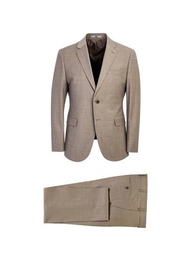 Kiğılı Slim Fit Yünlü Takım Elbise Bej